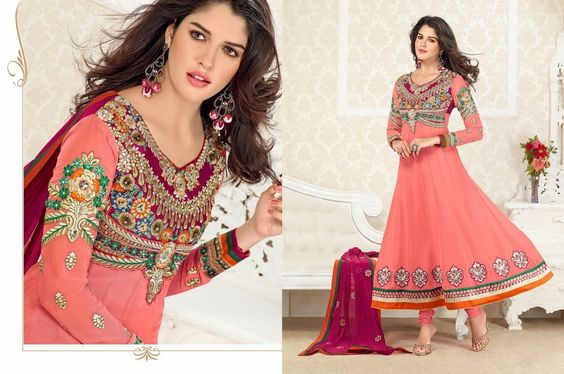 Adah Fashions Georgette Embroidered Semi Stitched Suit - 30217271 at Rs 3350