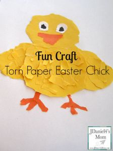 Fun Craft- Torn Paper Easter Chick. Great for developing fine motor skills.