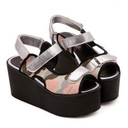 Street Style Women's Sandals With Camouflage and Platform Design