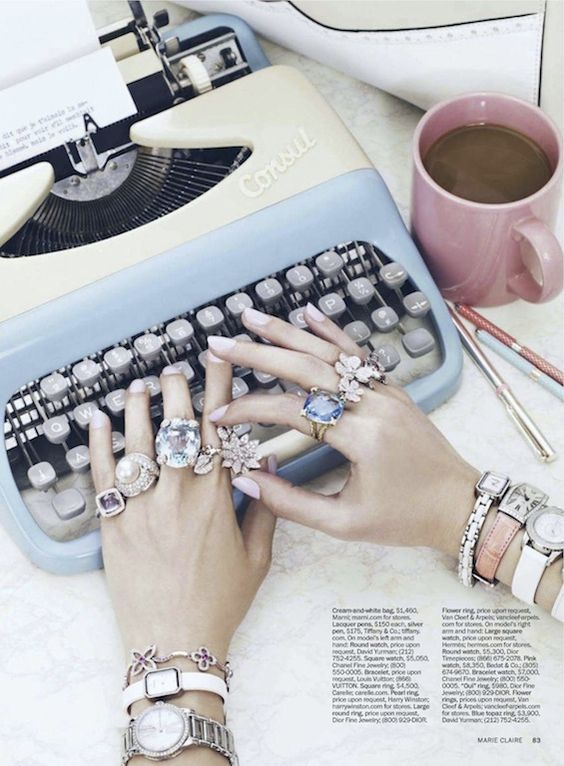 a lovely being - journal: Marie Claire, Rings Rings, Jewel, Cocktail Rings, Office Supplies, Vintage Typewriters, Pretty Things, Bling Bling