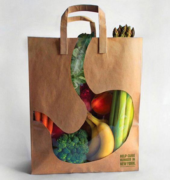 Bolsa de comercio original y creativa. Diseño gráfico packaging. Publicidad creativa.: