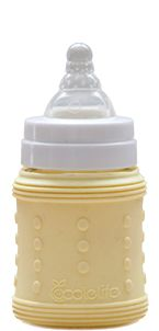 Glass feeding bottle with silicone protective sleeve