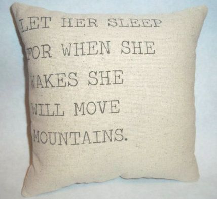 SALE She Will Move Mountains Pillow by cayteelynn on Etsy, $14.95