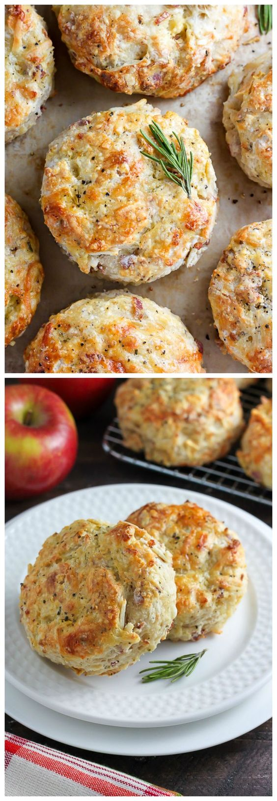 "White Cheddar, Bacon and Apple Biscuits Recipe via Baker by Nature ""White cheddar cheese, crispy bacon, and apple make these buttery biscuits irresistible!"" - The Best Homemade Biscuits Recipes - Quick, Easy and Delicious Bread Sides for Breakfast, Brunch, Lunch and Family Dinner! #biscuits #biscuitrecipes #homemdebiscuits #easybiscuits #rolls #homemadebreadsides #bread #breakfastrecipes #comfortfood"
