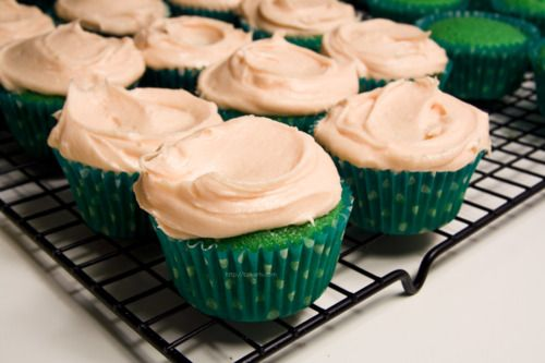 Green Vanilla Cupcakes and Vanilla Buttercream Frosting - St. Patrick's Day style!