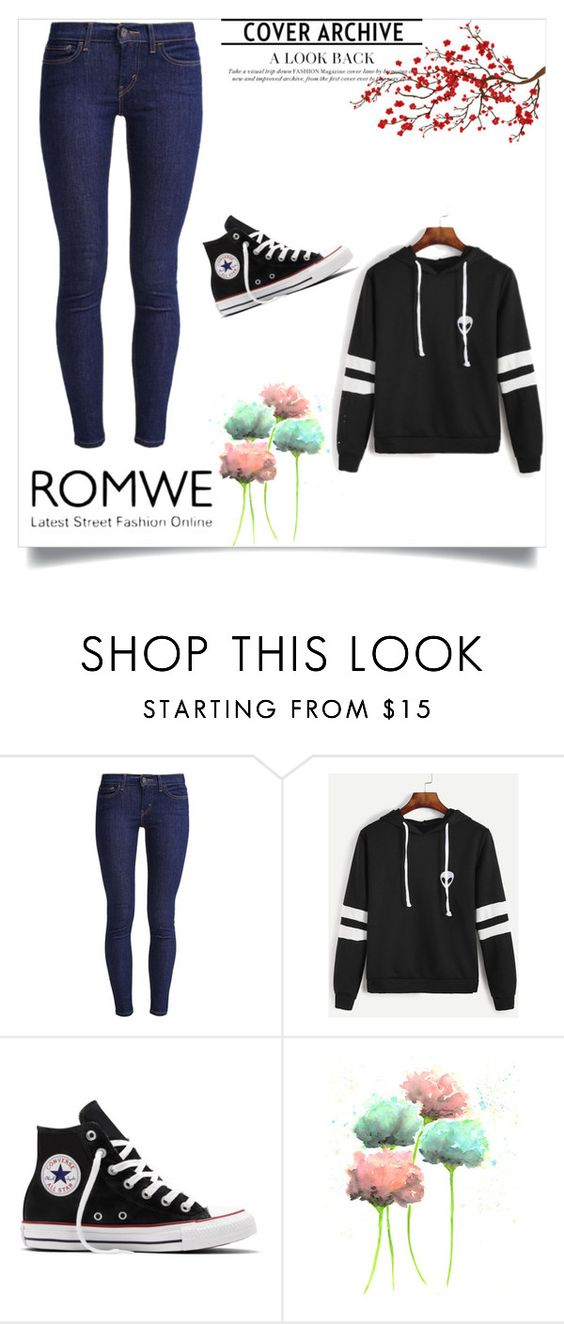 """""""Untitled #48"""" by solanica ❤ liked on Polyvore featuring Levi's, Converse and Brewster Home Fashions"""