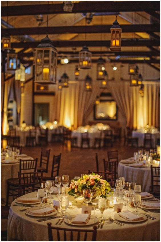 lanterns suspended in wedding ballroom :: lanterns by Blue Ridge Lighting :: Pippin Hill Vineyard :: Ashley Baber Weddings :: Rothwell Photography