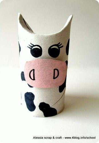 Lavoretti, zoo con i tubi di cartone: la mucca  Toilet Roll Cow