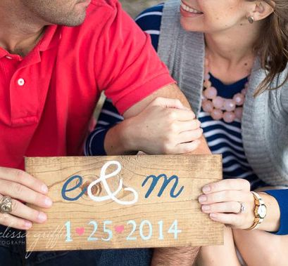simple wooden wedding date signs
