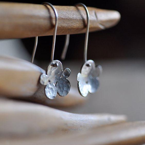 ON SALE Sterling silver earrings Organic by oblissjewellery, $30.00