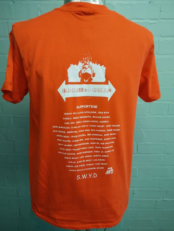 Loving these Printed Tees! Made for Ibiza Clubbing Guide .Com with custom print both sides. We've printed the shirts onto 2 different colour Tees for choice.
