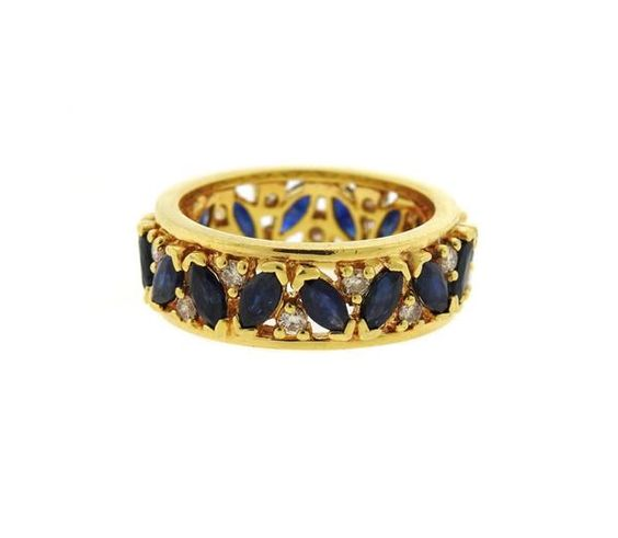 18k Gold Diamond Sapphire Band Ring Featured in our upcoming auction on November 3!