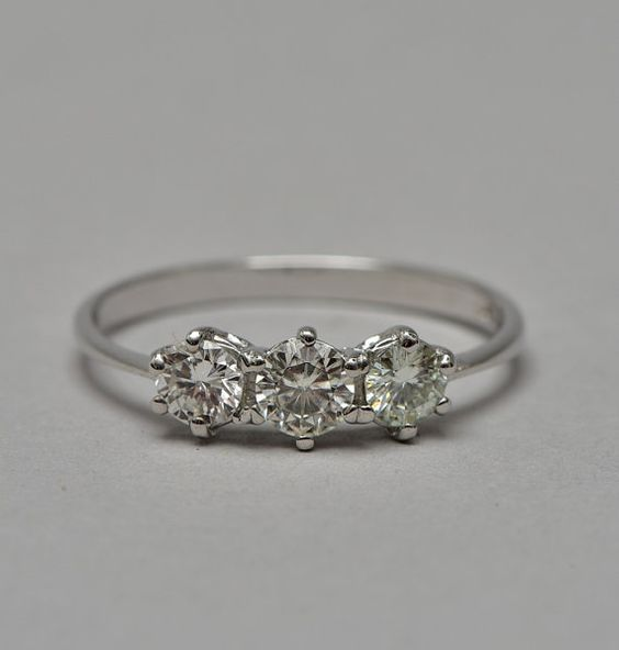 Superb quality .70 Ct diamond vintage trilogy ring