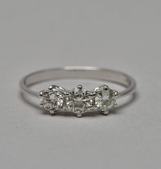 Superb quality .70 Ct diamond vintage trilogy ring