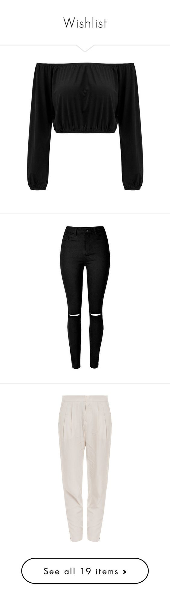 """""""Wishlist"""" by kamication ❤ liked on Polyvore featuring tops, shirts, crop tops, black, crop top, off the shoulder shirts, long sleeve crop top, sexy shirts, long sleeve shirts and jeans"""