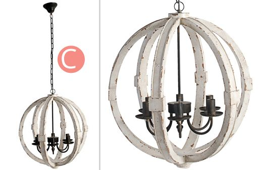 Distressed Wood Chandelier Chandeliers White