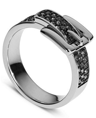 A buckle ring - how awesome! Michael Kors Ring, Silver Tone Pave Crystal Buckle Ring