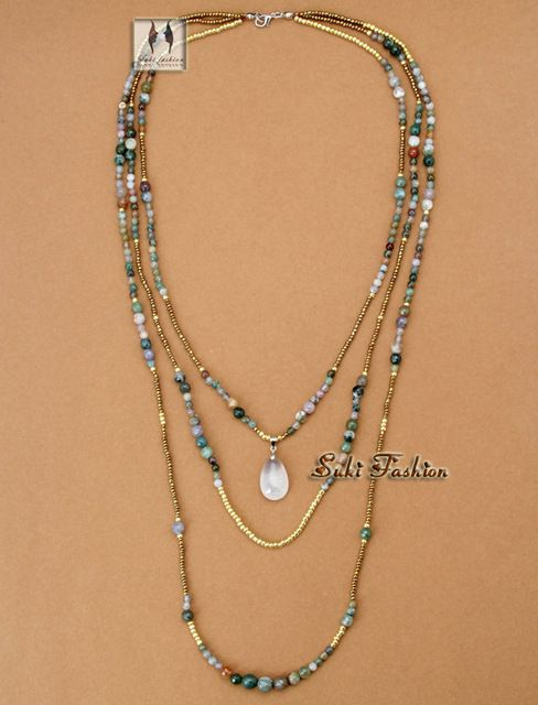 Mais novo de alta qualidade Handmade Natural índia ágata com missangas 3 colares estilo Folk colar de contas em camadas: