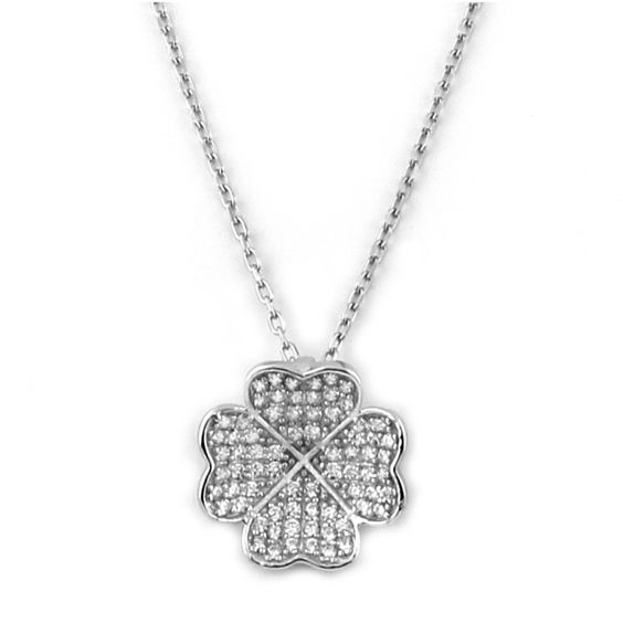LUCKY CZ HEART CLOVER PENDANT NECKLACE sterling silver
