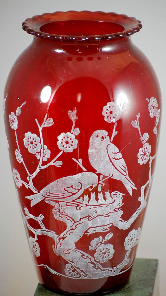 Vintage Anchor Hocking Ruby Red Glass Hoover Vase With White Bird Design For The Birds