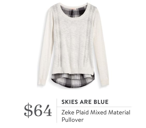 Stitch Fix September 2016 - Skies Are Blue, Zeke Plaid Mixed  Material Pullover, this could be really cute paired with a vest