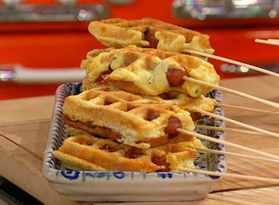Jalapeño Popper Corn Dog Waffles Recipe.. box cornbread mix 1 jalape�o pepper, stemmed, seeded and chopped Fresh ground black pepper, to taste Salt 4 ounces cream cheese, cut into chunks 1/2 cup sharp yellow cheddar cheese, about a handful 4 hot dogs 8 skewers Nonstick cooking spray Preparation