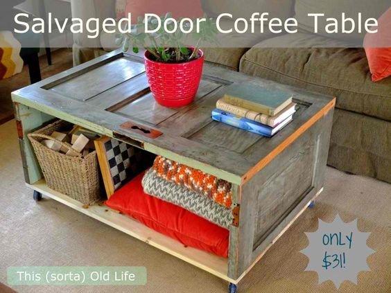 DIY Salvaged Door Coffee Table... I LOVE repurposed... especially if it's OLD stuff