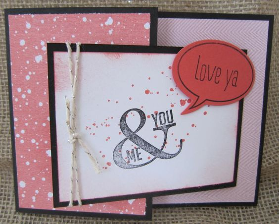 Anniversary, love or special day card using Perfect Pennants and Just Sayin' sets by SU!  Was made for Valentine's day card in stamp club.  This is a Joy fold card.
