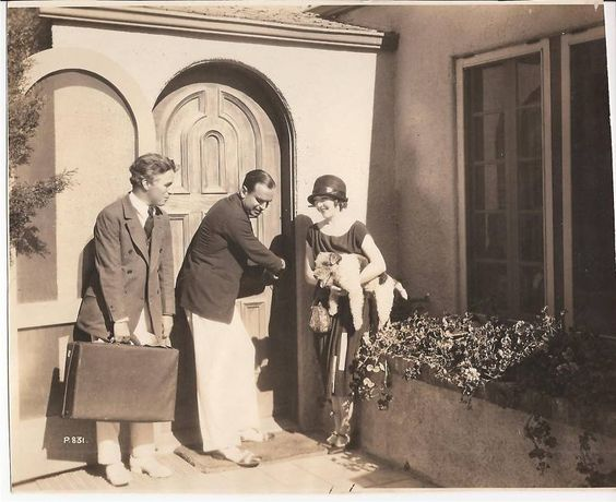 Charlie welcomes Douglas & Mary home from their European honeymoon, 1921 - silent-movies Photo
