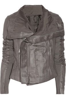 RICK OWENS  Elaphe snakeskin biker #jacket. King of urban cool Rick Owens takes his signature biker jacket in a bold new direction, crafting it from gray elaphe. Created with ribbed #jersey sleeve inserts for the most #comfortable fit, this statement piece is an investment in the label's iconic aesthetic.