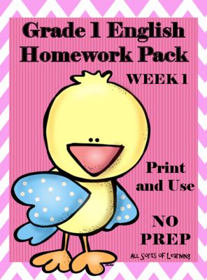 Grade 1 English Homework Pack from AllSortsofLearning on TeachersNotebook.com…
