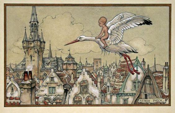 Anton Pieck - geboortekaartje - Love Anton's baby art