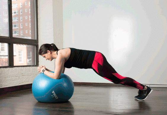 7. Stability Ball Forearm Plank Jacks #stabilityball #abs #exercises http://greatist.com/move/abs-workout-best-stability-ball-moves-for-your-core