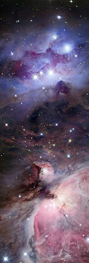 Sword Of Orion: Orion constellation is known for 3 stars in short straight row called Orion's Belt. A curved line of stars hangs from the three BELT stars; they're called Orion's Sword as if a weapon with armor. The Orion Nebula is about midway down in the Sword of Orion, aka M42, a stellar nursery where new stars are being born. #DdO:) - https://www.pinterest.com/DianaDeeOsborne/universe-lights/ - UNIVERSE LIGHTS. Pinned via freyboss ASTRONOMY board from futuristicnews. Link= easy map.