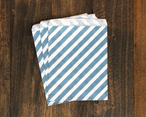 20ct Navy Blue Treat Paper Bags -  striped paper bags - Cute Girt Wrapping Shower Party Supplies, decorative paper goods, food display