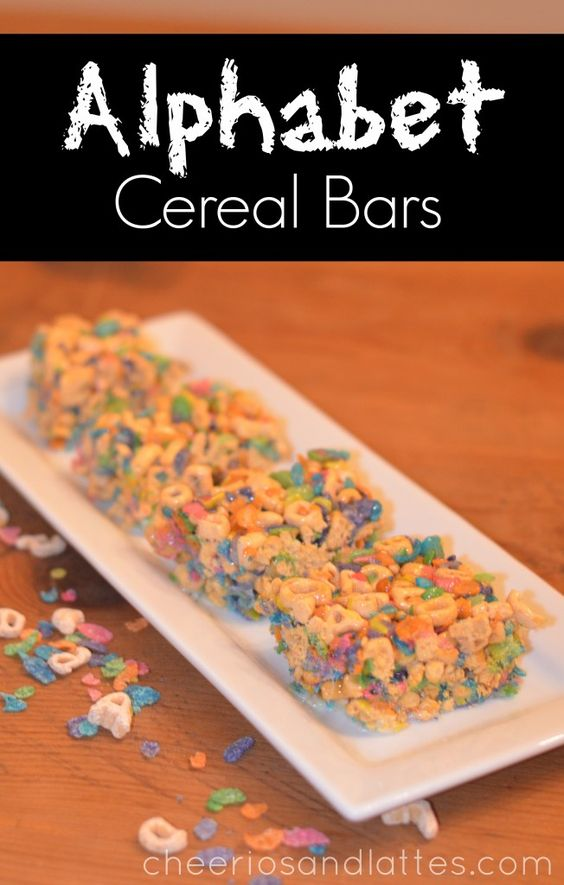 Alphabet Cereal Bars-made with Fruity Pebbles & Alphabets Cereal instead of Rice Krispies