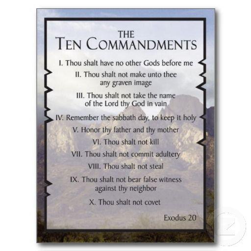 ten commandments post card
