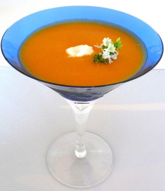 chilled creamy carrot + sweet potato soup