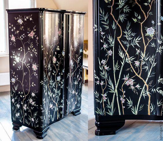 Купить Мебель с росписью в стиле шинуазри. Шкаф с пионами. - черный, мебель с росписью, роспись мебели