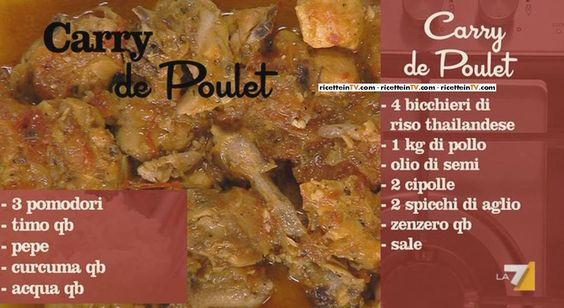 """Benedetta Parodi, intenta aconfezionareun menu """"creolo"""", ha proposto ilcarry de Poulet.Di seguito ingredienti e procedimento. Laviamo il riso, lo lessiamo; facciamo dorare il pollo a pezzi in padella, con l'olio di semi, poi aggiungiamo la cipolla a fettine, l'aglio e lo zenzero pestati con il sale; dopo un po' i pomodori a dadini, il timo …"""