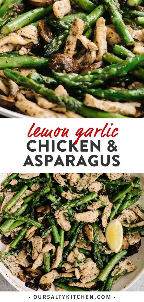 Lemon Garlic Chicken and Asparagus Skillet