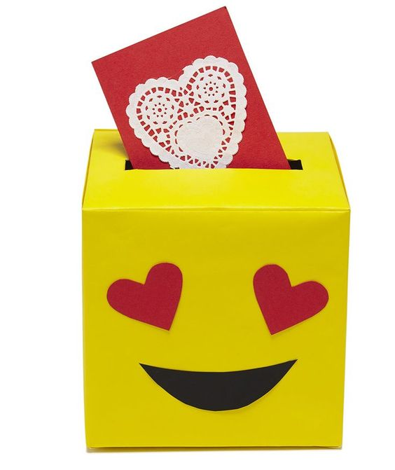 Valentine's Day Card Boxes   To transform a tissue box into your favorite emoji face, you only need three colors of paper: red, yellow, and black.