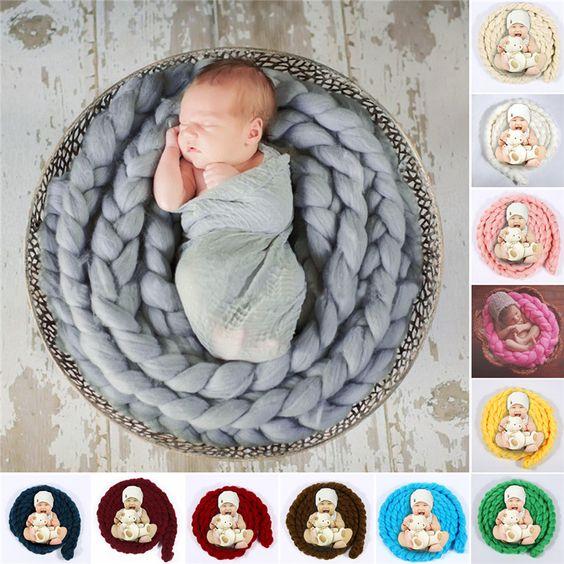 Recién nacido accesorios de fotografía foto del bebé manta 12 colores 4 M largo cesta de acrílico de relleno cesto trenza embutidora atrezzo fotos bebe en Sombreros y Gorras de Bebés en AliExpress.com | Alibaba Group