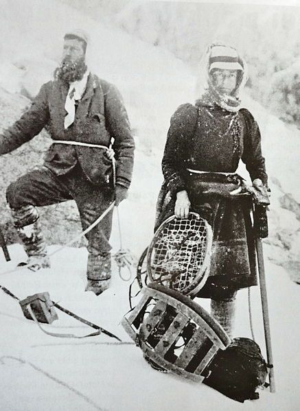 Elizabeth Hawkins-Whitshed (1860 – 1934) was a British pioneer of mountaineering in a time when it was almost unheard of for a woman to climb mountains. She moved to Switzerland, where she climbed mountains in her skirt. She wrote seven books on mountain climbing and over her lifetime climbed twenty peaks that no one had climbed before. As Mrs Aubrey Le Blond she made at least 10 films of alpine activities in the Engadine Valley of Switzerland.: