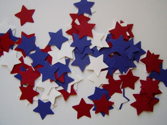 100 red white and blue star punches confetti by JDooreCreations, $1.50