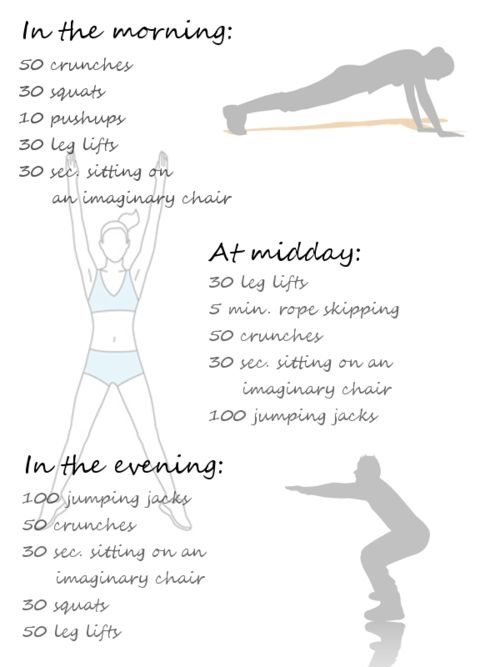 Morning, midday, evening workout.