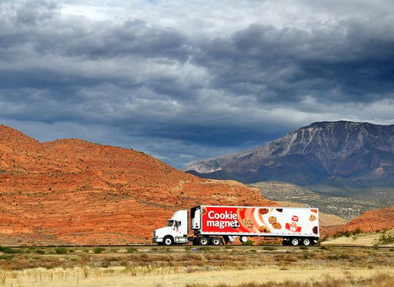 Cookie Magnet truck trucking out west..