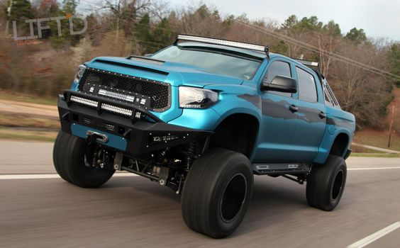 Mean looking off-road Toyota Tundra: lifted, barred, lighting, decal'd