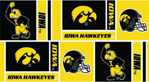 Collegiate Cotton Broadcloth University of Iowa Squares Black/Yellow Fabric