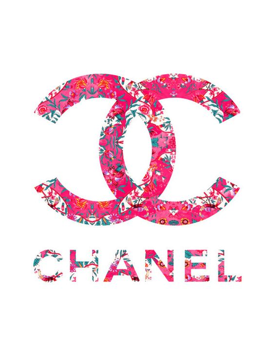 Floral Chanel Logo fashion illustration art print by KomaArt: